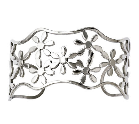 Stainless Steel Cutout Floral Cuff