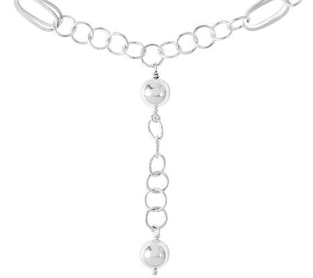 Sterling Polished Circle Oval & Bead Link DropNecklace