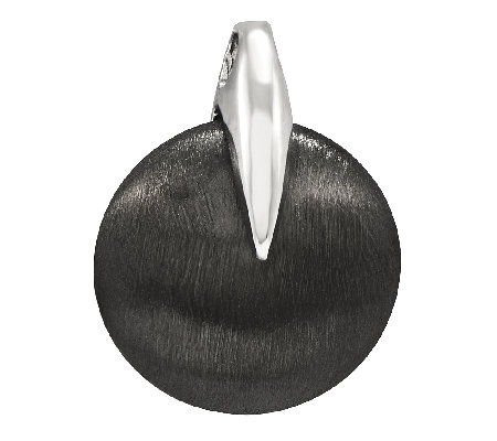 Sterling Black-Plated Brushed Round Pendant
