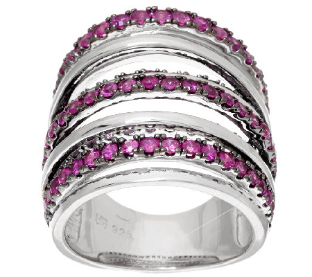 Sterling Silver Blue or Pink Sapphire Wide Band Ring, 2.00 cts