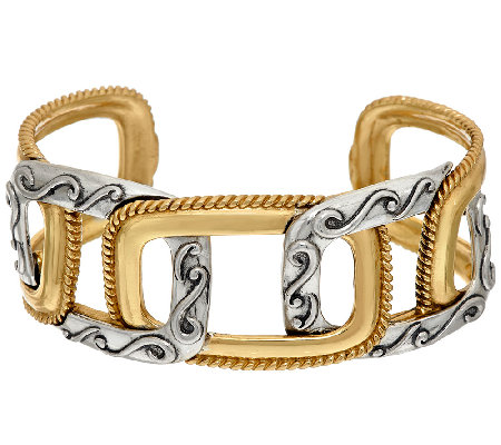 Carolyn Pollack Sterling & Brass Interlocking Design Cuff
