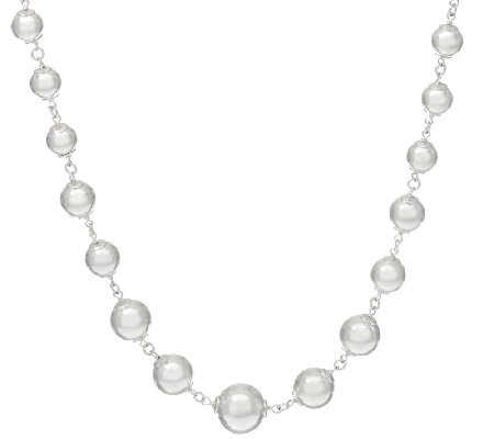 "UltraFine Silver 24"" Graduated Bead Necklace 46.00g"