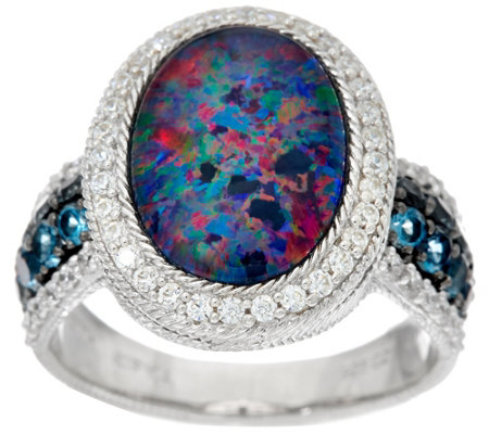 Judith Ripka Sterling Silver Opal Triplet & London Blue Topaz Ring