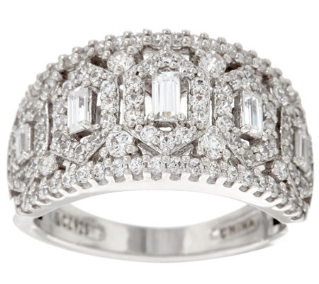 Diamonique Domed Baguette Ring, Sterling