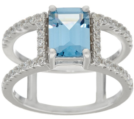 Diamonique Band Ring w/ Simulated Gemstone, Sterl or 14K Clad