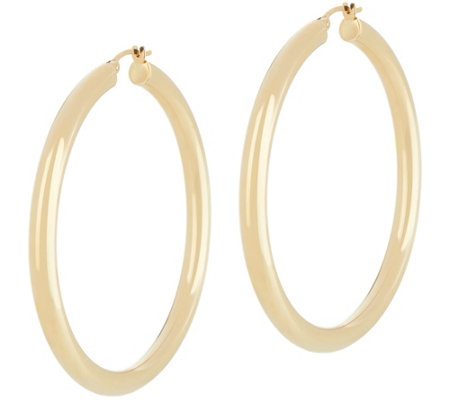 "Dieci 2"" Polished Round Hoop Earrings, 10K Gold"