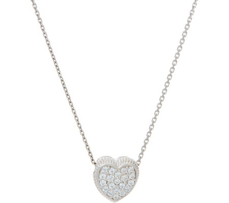 Diamonique Pave' Heart Pendant with Chain Sterling