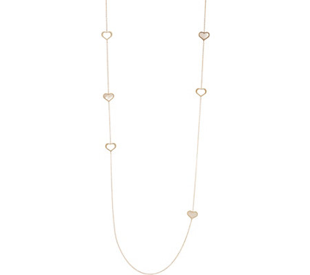 Italian Gold Mother-of-Pearl Station Necklace, 14K 3.6g