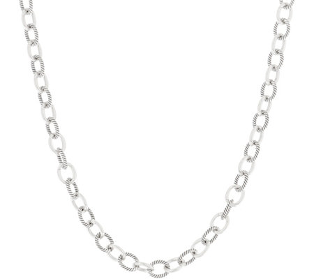 "Carolyn Pollack 32"" Sterling Silver Oval Link Status Necklace 47.5g"