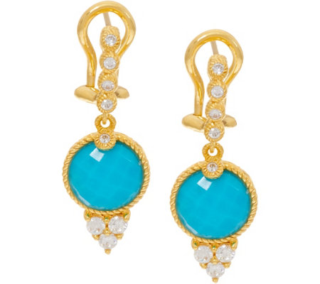 """As Is"" Judith Ripka Sterling Silver & 14K Clad Turquoise Drop Earrings"