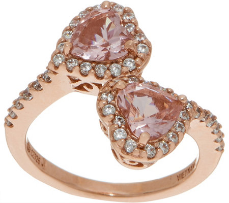 Diamonique and Simulated Morganite Heart Ring 14K Rose Clad