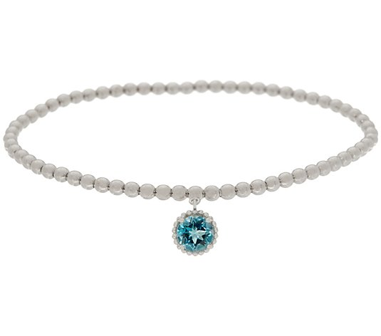 Gemstone Charm Stretch Bracelet, Sterling Silver