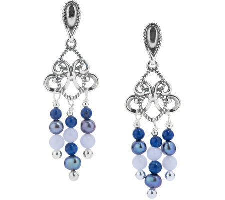 Carolyn Pollack Shades of Beaded Chandelier Earrings