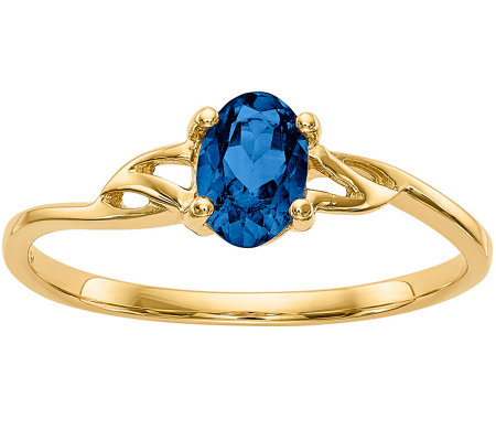 14K Oval Gemstone Solitaire Ring