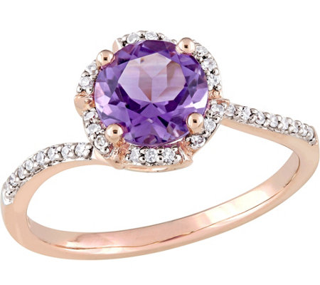 14K Gold 1.30 ct Amethyst & 1/10 cttw Diamond Floral Halo Rin