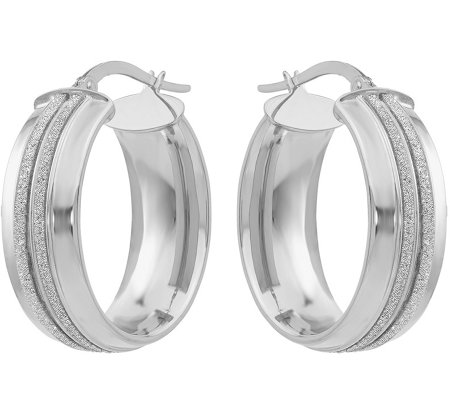 14K Double Glitter-Infused Oval Hoop Earrings