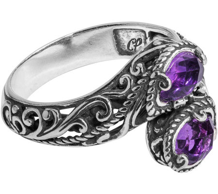 Carolyn Pollack Sterling Amethyst Bypass Ring