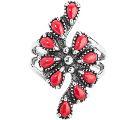 American West Red Coral Cluster Ring