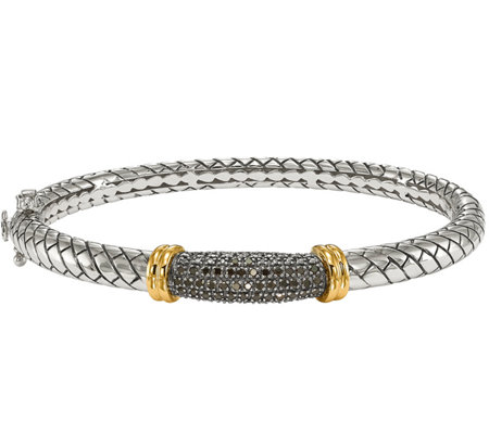 Black Diamond Bangle, Sterling & 14K, 1/5 cttw,by Affinity