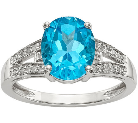 Sterling Oval Gemstone & 1/10 cttw Diamond Ring