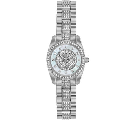 Bulova Women's Stainless Swarovski Crystal Watch