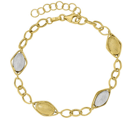 14K Gold Two-Tone Satin Beads Bracelet, 2.9g