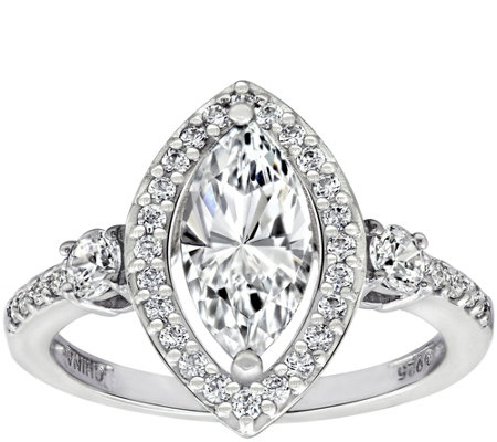 Diamonique 1.85 cttw Marquise Halo Ring, Platinum Plated