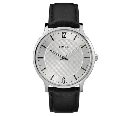 Timex Men's Metropolitan Black Leather Strap/Silver Dial Watc