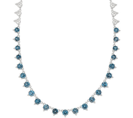 Judith Ripka Sterling 17.00 cttw Blue Topaz Station Necklace