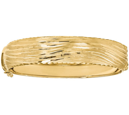 Italian Gold Textured Round Hinged Bangle, 14.6g