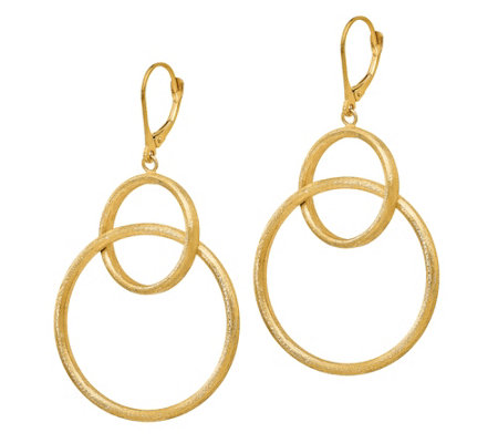 Italian Gold Satin Interlocking Dangle Earrings, 14K