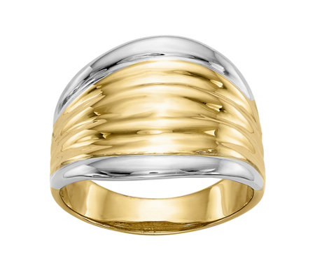 14K Gold Two-Tone Ribbed Dome Ring