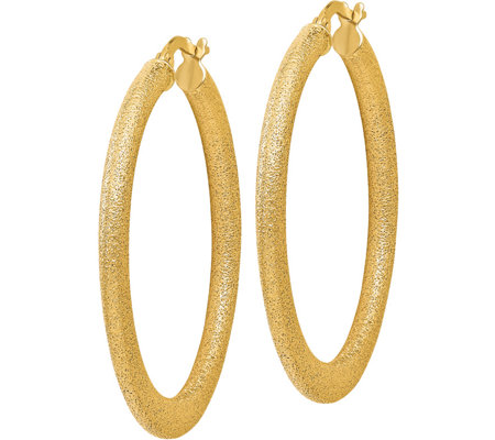 "Italian Gold 1-1/2"" Satin Tapered Hoop Earrings14K, 3.8g"