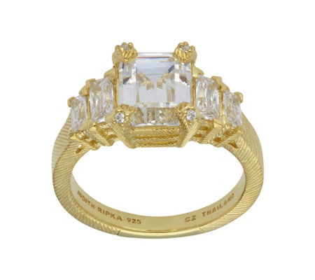 Judith Ripka 14K Clad 5-Stone 3.60 cttw Diamonique Ring