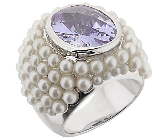Lauren G Adams Silvertone Cultured Pearl Cluster Cocktail Rin