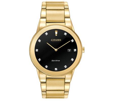 Citizen Eco Drive Men S Goldtone Diamond Axiom Watch
