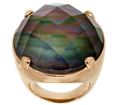 Honora Mother-of-Pearl Faceted Oval Doublet Bronze Ring
