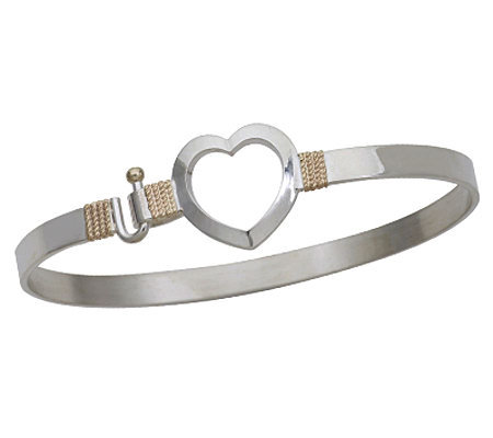 Open Heart Bangle, Sterling Silver/14K Yellow Gold