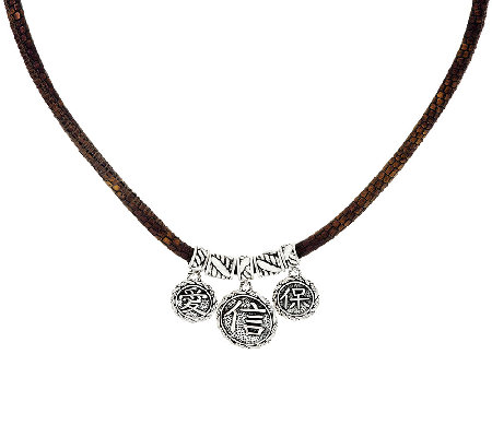 JAI Sterling & Leather Hill Tribe Coin Necklace