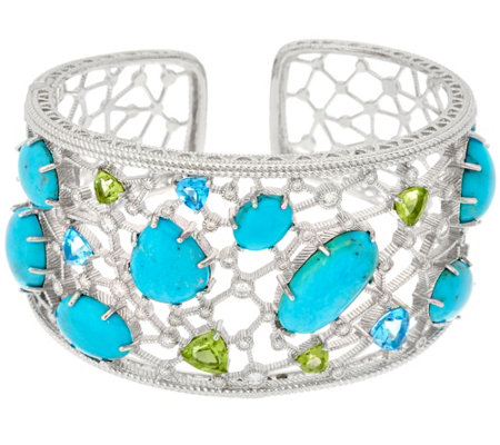 Judith Ripka Sterling 5.00 cttw Gemstone & Turquoise Cuff