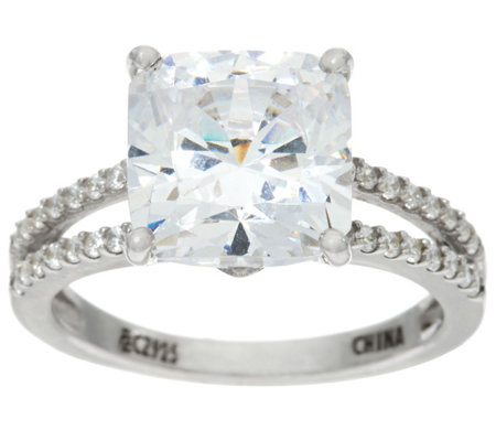Diamonique 5ct Split Shank Solitaire Ring, Platinum Clad