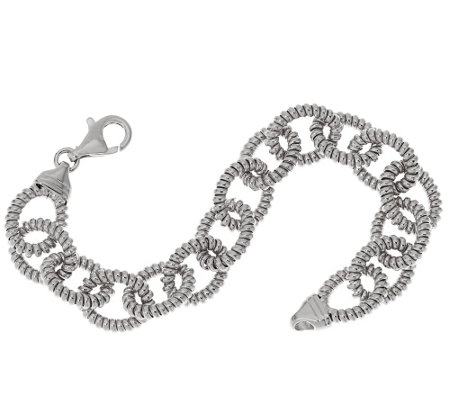 """As Is"" Italian Silver Sterling 7-1/4"" Ribbed Rolo Bracelet, 18.5g"