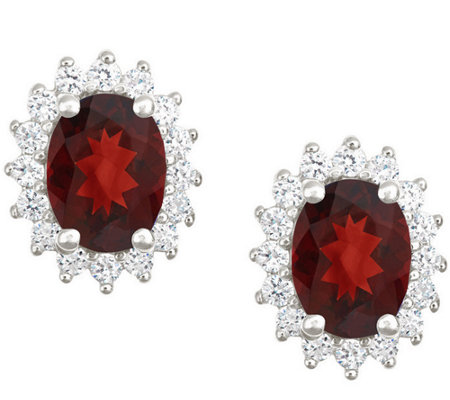 Premier 2.50cttw Oval Garnet & Diamond Earrings, 14K