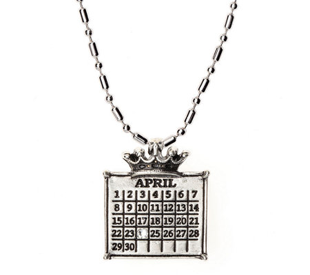 Personalized Silvertone Calendar Crown Charm Necklace