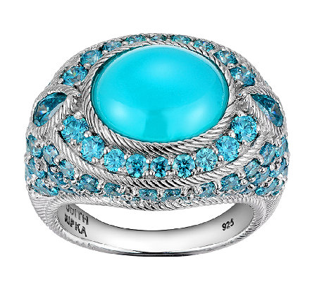 Judith Ripka Sterling Blue Chalcedony Diamonique Ring