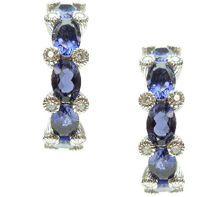 "Judith Ripka Sterling 3.30cttw Iolite 1"" Hoop Earrings"