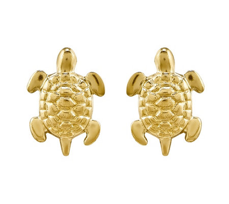 14K Gold Turtle Post Earrings