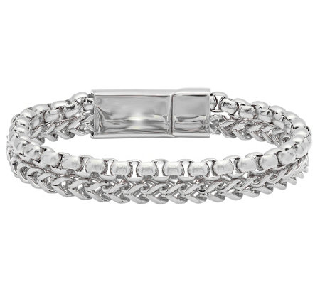 Forza Men's Stainless Steel Double Row Bracelet