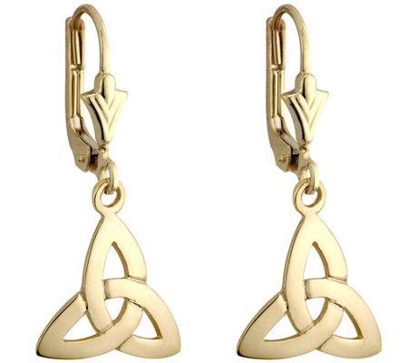 Solvar Trinity Knot Drop Earrings, 14K Yellow Gold