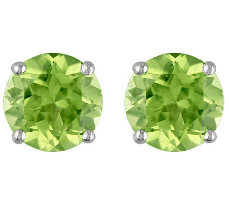 1.10 cttw Peridot Stud Earrings, 14K White Gold